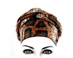 Echarpe Lenço Turbante Animal Print