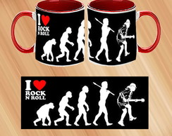 Caneca Porcelana I LOVE ROCK in ROLL