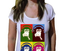 Camiseta Feminina macaco pop art