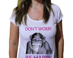 Camiseta Feminina macaco be happy