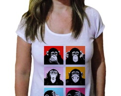 Camiseta Feminina macaco faces pop art