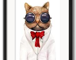 Quadro em Canvas Gato de Oculos   Elo7 c11de7fbc4
