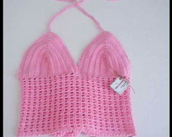 Top cropped de croche