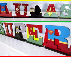 Letras Decorativas / Tema Super Heróis (MDF - com base)