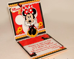 Convite Mini Pop Up - Minnie Vermelha