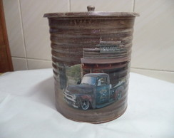 Lata decorada - 18.5 x 15.5 Cms - Carros