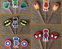 Kit 30 Toppers Super Herois