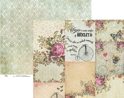 Papel Okscrapbook Vintage Flores Card