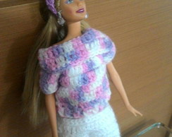 Conjunto Barbie branco e mesclado