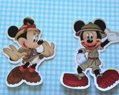 30 apliques 7 cm mickey e minnie safari