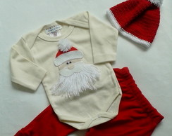 Kit Body, Calça e Touca Papai Noel