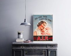 "Placa decorativa ""Join The A.I.F. Now"""