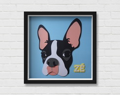 Boston Terrier Quadro Scrap com Moldura
