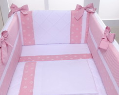 Kit Mini Berço 58cm Rosa Princesa 7pc