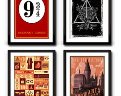 Kit Harry Potter - 4 Quadros 40x30
