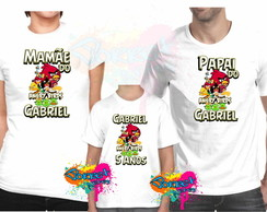 Camisa Personalizada Angry Birds 3 Pçs