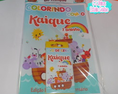 Kit Revista de Colorir + Giz de Cera