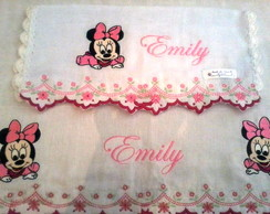 Kit de Fraldas com Barrinha Bordada Minnie Baby