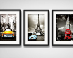 3 Quadros NYC Paris Londres com Paspatur
