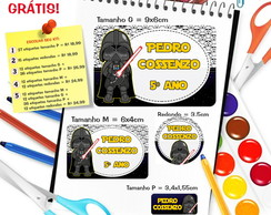 Etiqueta Escolar Darth Vader - Star Wars