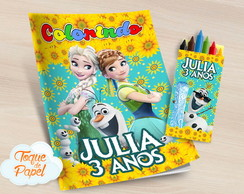Kit colorir com giz de cera Frozen Fever