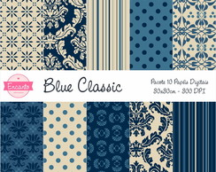 Kit Papel Digital - Blue Classic
