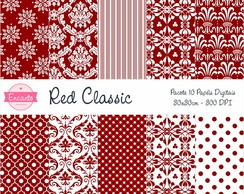 Kit Papel Digital - Red Classic
