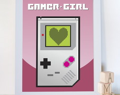 Quadro Gamer Girl Video Game Vintage