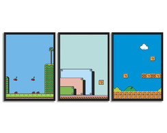 Trio de quadros Gamer fases Vintage Game
