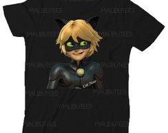 Camiseta Cat Noir Lady Bug Miraculous Infantil