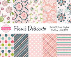 Kit Papel Digital - Floral Delicado