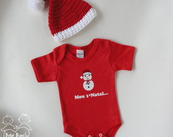 KIT GORRO + BODY 1º NATAL - 0 A 3 meses