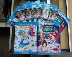 Revista p/ colorir + giz - Alice
