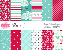 Kit Papel Digital - Love I