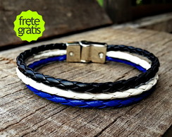 Pulseira Couro Magnetic Blue