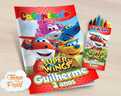Kit colorir com giz de cera Super Wings