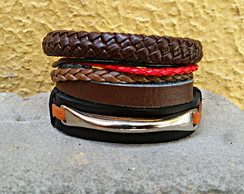Mix de Pulseiras Metal Brown