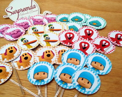 Kit com 60 Toppers Pocoyo