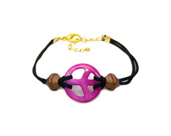 Pulseira Peace Rosa Pedra Natural