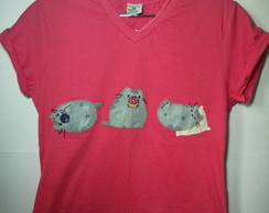 Camiseta bordada pusheen cat