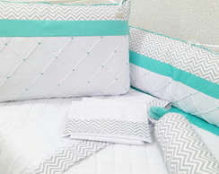 kit berço 8 pcs Chevron e tifany