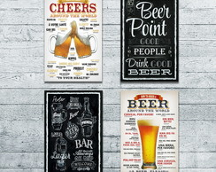 Placa Decorativa Cerveja Kit com 4