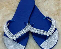 Chinelo Decorado com Strass e Pérolas