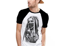 Camiseta Raglan Estampada Girl Tatto