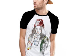 Camiseta Raglan Estampada Girl