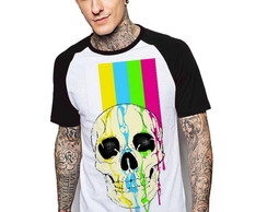 Camiseta Raglan Estampada Skull Color