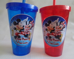 Copo c/ Canudo 550ml Mickey e Minnie 01