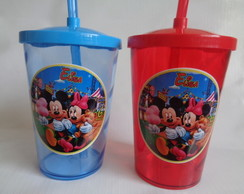 Copo c/ Canudo 700ml Mickey e Minnie