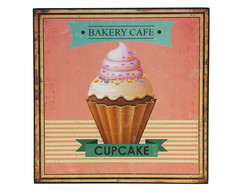 Placa Decorativa Retrô Cupcake MDF 24x24