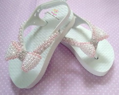 Chinelo baby infantil com perolas ABS